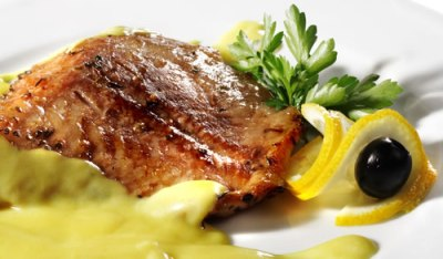 Char fillet with mushrooms and parsley oil