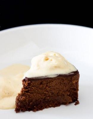 Chocolate ganache with vanilla cream