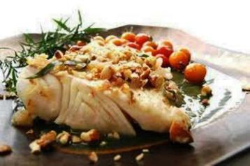 Halibut with Almonds and Juniper Berries Recipe