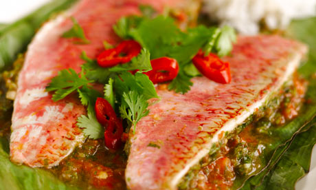 Healthy fish recipe roasted and dried red mullet fillet for Mullet fish recipe
