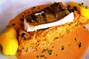 Sander fillet with pumpkin, squash and Syrah butter Recipe