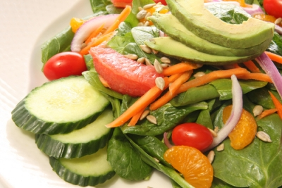 Citrus Dressing over Spinach, Asparagus and Fennel Salad