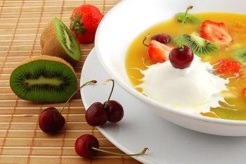 Citrus Fruit Soup and Orange Crisps