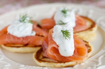 Crepes parmentieres with salmon and caviar