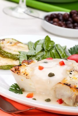 Halibut in Creamy Wine Sauce