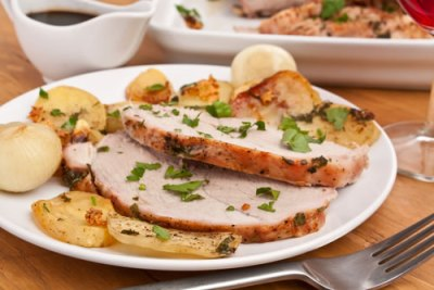 Pork Loin with Baked Bananas