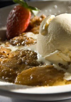 Roasted Apples with Green Apple Sauce and Cinnamon Ice-cream